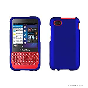 Beyond Cell ®For BlackBerry Q5 (AT&T,Prepaid,International) Premium Protection Slim Light Weight 2 piece Snap On Non-Slip Matte Hard Shell Rubber Coated Rubberized Phone Case - Dark Blue - Retail Packaging