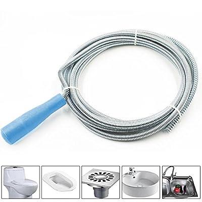 iNextStation Metal Spring-Steel Drain Conduit Toilet Sewer Cleaner Closet Auger Tool 14.8 ft