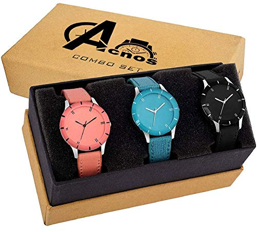 Acnos Analogue Women's Watch (Pack of 3) (Multicolored Dial Multicolored Colored Strap)