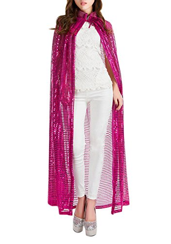 Halloween Party Festival Magic Cosplay Sequin Glitter Costume Bling Cloak Cape Robe Coat Shawl Outwear Hot Pink -