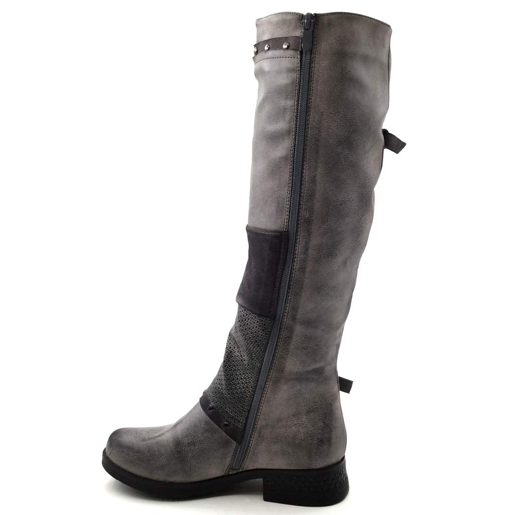Angkorly - Damen Schuhe Oberschenkel-Stiefel Stiefel - Biker Biker Biker - bi-Material - Classic - String Tanga - Schleife - Nieten - Besetzt Blockabsatz 3.5 cm f4f53b