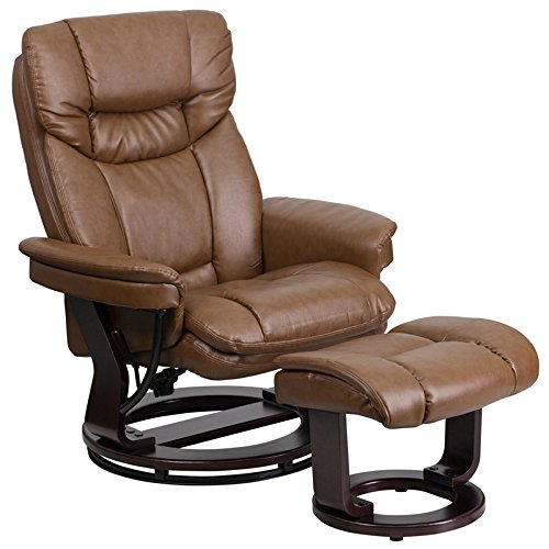 StarSun Depot Contemporary Palimino Leather Recliner and Curved Ottoman with Swiveling Mahogany Wood Base 33