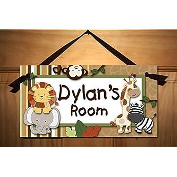 Kids Door Sign Baby Jungle Animal Safari Baby Nursery Gender Neutral Kids  Personalized Bedroom Door Sign