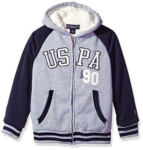 U.S. Polo Assn. Boys' Little Boys' Sherpa Lined Fleece Hoodie, Yx Light Heather Gray, - Gray Hoodie Iconic