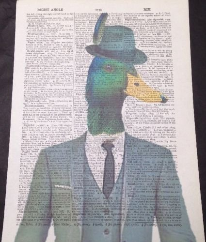 humanised Ente Vintage W/örterbuch Seite Wandbild Print Animal Bird Hipster Suit