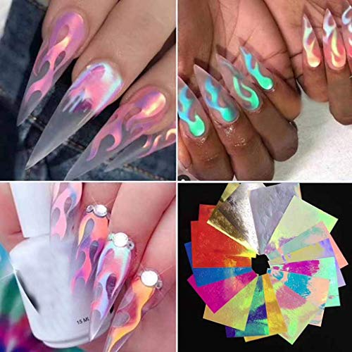 Flame Reflections Nail Stickers - 16PCS Holographic Fire Flame Nail Art Decals 3D Vinyls Nail Stencil for Nails Manicure Tape Adhesive Foils DIY Decoration