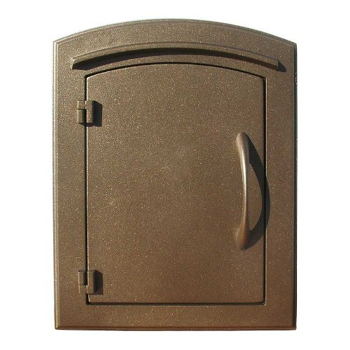 QualArc MAN-1400BZ Manchester Column Mount Mailbox Plain Door in Bronze by Qualarc