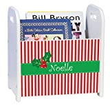 Personalized Christmas Stripes White Book Caddy and Rack