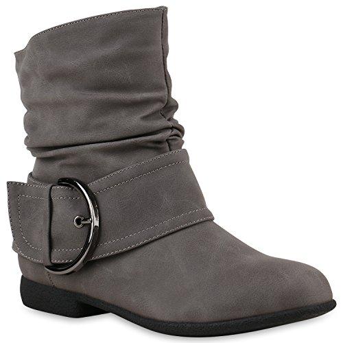 Stiefelparadies Damen Stiefeletten Keilstiefeletten Gefütterte Flache Schlupfstiefel Wedges Boots Stiefel Keilabsatz Schuhe Schleifen Flandell Grau Schnalle