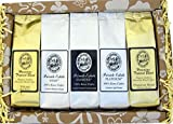Deluxe Pure Kona and Hawaiian Coffee Sampler Gift, Assortment of Five Coffee Roasts of Kona and Hawaiian Coffee, for Christmas, Mothers Day, Fathers Day, Corporate Gifts, All Occasions, Brews 60 Cups