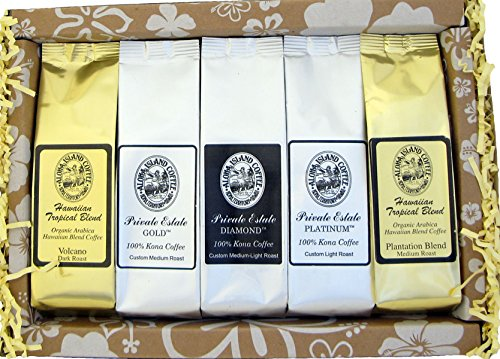 Deluxe Pure Kona and Hawaiian Coffee Sampler Gift, Assortment of Five Coffee Roasts of Kona and Hawaiian Coffee, for Christmas, Mothers Day, Fathers Day, Corporate Gifts, All Occasions, Brews 60 Cups (Fathers Day Baskets)