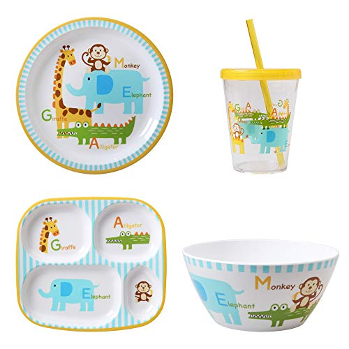 Mainstays Kids 4-Pack Tabletop Set: Includes 1 Plate, 1 Divided Plate, 1...
