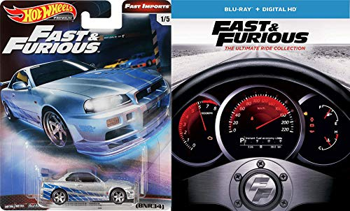Insane Street Racing Fast & Furious 1-7 Collection Super Charged Edition / 2 / Tokyo Drift / Five + Car Set (Blu-ray + DIGITAL HD) + Movie Replica Car Nissan Skyline Hot Wheels Real Riders Package (Hotwheels Hollywood)