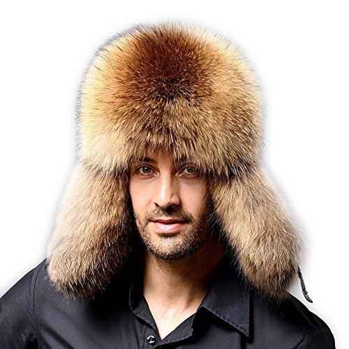 Men Winter Fur Trapper Hat - Real Fox Raccoon Fur Hunting Russian Cap Sheep Skin Water Proof FURTALK Original