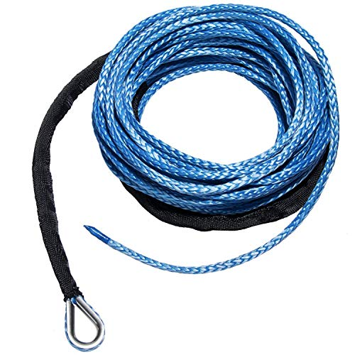 """1//4/"""" x 50/' Synthetic Winch Rope With 4 Ton Snatch Block ATV//UTV Recovery Cable"""