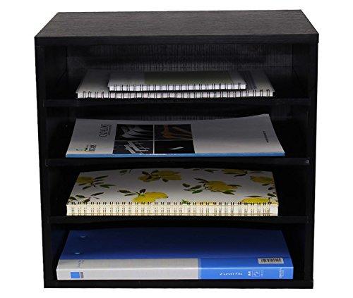 PAG Office Supplies Wood Desk Organizer Desktop File Mail Sorter with 3 Adjustable Drawer Boards, Black