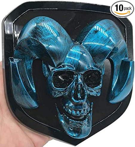 Dodge Ram Skull Emblem,Head Emblem Medallion Decal Logo Front Grille /& Rear Tailgate Skull Emblem Blue for 2008-2018 Dodge Ram 1500 2500 3500 Front Grille