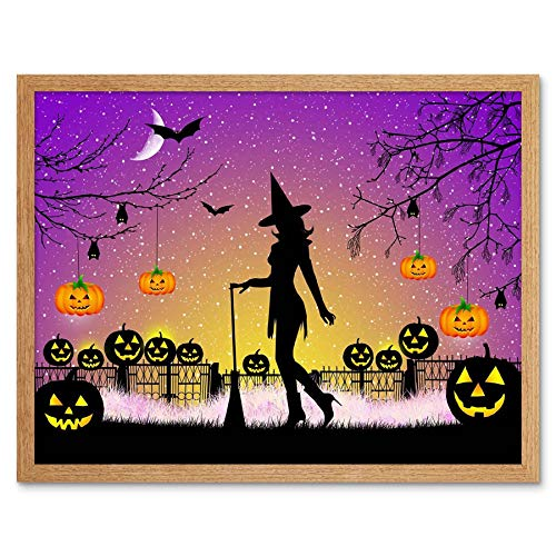 Wee Blue Coo Painting Halloween Witch Silhouette Bats Lanterns Pumpkins Art Print Framed Poster Wall Decor 12x16 inch -