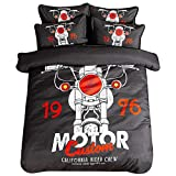 FJLOVE Duvet Cover Set, Cotton Bedding Sets 3D Printed Unique Cool Animal Themed Crazy Pattern Quilt Cover Sets with Zipper Kids Teens Unisex,C,Full