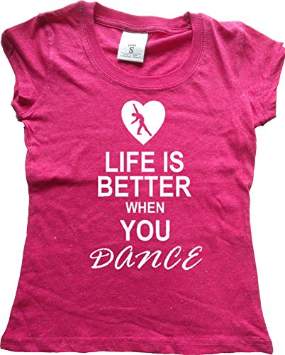 Orange Arrow Glitter Dance Youth (M, Pink GLIT) - Life Is Better When You Dance - Jazz Tshirt - Arrow Jersey T-shirt