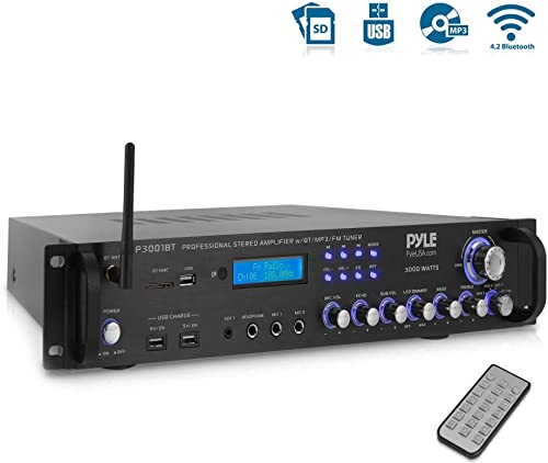 Pyle Bluetooth Hybrid Amplifier Receiver – Home Theater Pre-Amplifier with Wireless Streaming Ability, MP3 USB SD AUX FM Radio 3000 Watt