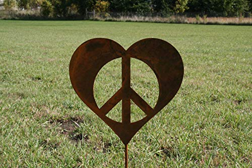 Peace Metal - Metal Heart-Shaped Peace Sign Garden Stake Small