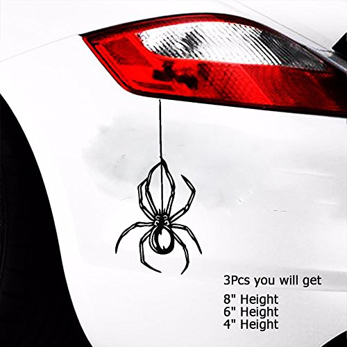 Vinyl Spider - Boilipoint 3pcs Car Window Decal Truck Outdoor Laptop Sticker SPIDER Vinyl Decal Sticker Truck Car Window Wall Bumper Hanging From Web