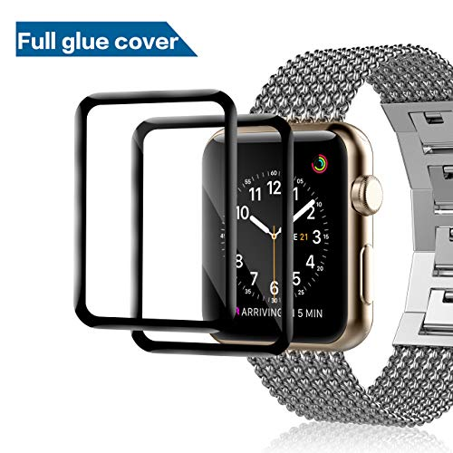 [2 Pack] GONJOY Design Apple Watch Series 4 Screen Protector 44mm, Full Coverage Shock Resistant Ultra Slim Bubble Tempered Glass (Full Glue Coverage)