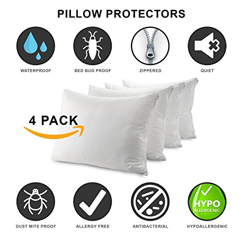 Guardmax Bedbug Proof Waterproof Pillow Protectors Hypoallergenic Covers - Zippered Encasement Style - Set of 4 - Quiet! (Queen - 4 (Hypoallergenic Bed)