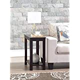 Espresso Finish Wooden Chair Side End Table Nightstand