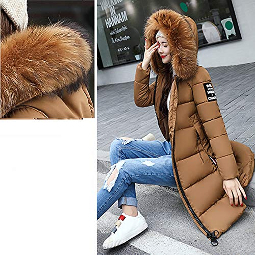 Women's Sleeve Long Winter Overcoat Lammy Down Jacket Casual Thicker Slim XOWRTE Solid Coat Coffee dYRndx