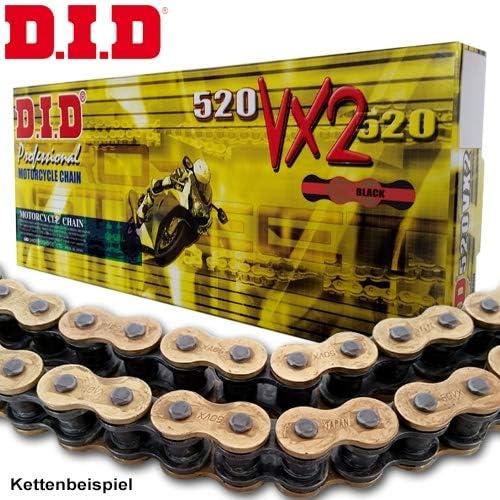 gold-schwarz RD02 Bj.1989 offen mit Nietschloss DID Kettensatz Stahl 15-45-108 DID520VX2 passend f/ür Honda NX650 Dominator