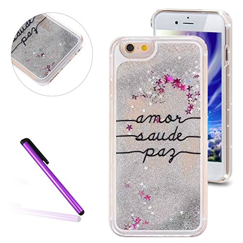 Silver Protective Stars Hard Case - iPhone 6S Plus Case, LEECO iPhone 6 Plus Case 3D Quicksand Liquid Bling Floating Stars Moving Hard Protective Phone Case Cover for Apple iPhone 6 / 6S Plus 5.5 inch (Calligraphy Letters:silver)