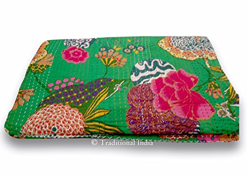 Queen Size Bedcover in Green - Throw - Katha Quilts - Reversible Quilt - Quilted Bedcovers - Floral Quilt - Spring Collection Quilts ()