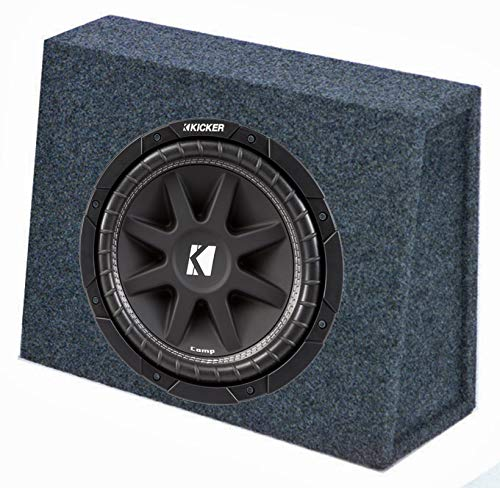 "Kicker 10C104 10"" 300W 4-Ohm Car Audio Subwoofer Sub + Slim Shallow Truck Box"