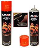 Neon Universal Gas Lighter Refill- 5X Refined Premium Butane 6 Pack