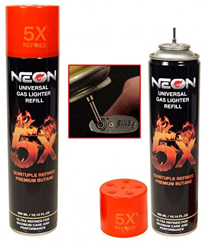 Neon Universal Gas Lighter Refill- 5X Refined Premium Butane 6 Pack