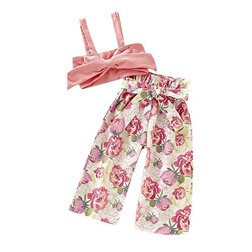 Baby Girl Clothes Bandeau Off Shoulder Sleeveless Strap Crop Top+Floral Long Pants Summer Toddler Bowkont Outfits 2PCS (1-2 Years) Pink