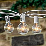 25 Foot G40 Globe String Lights With Bulbs – White Wire – By Austin Light Co. - UL Listed. Indoor and Outdoor. Commercial Grade. Great for patios, cafés, parties, homes, weddings, backyards