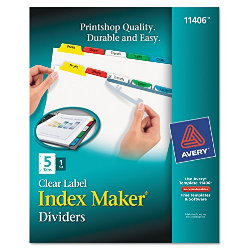 Avery Dennison Index Maker (Avery 11406 Index Maker Print & Apply Clear Label Dividers w/Color Tabs, 5-Tab, Letter)