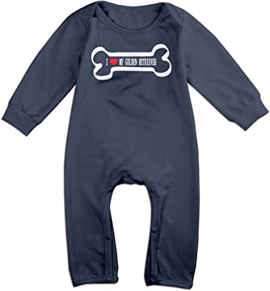 Newborn Kids Long Sleeve Jumpsuit I Love My Golden Retriever-1 Infant Long Sleeve Romper Jumpsuit