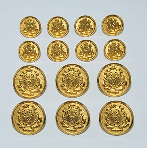 Connecticut Set - Connecticut State Seal Gold Double Breasted Blazer Button Set by Waterbury Button Company Sport Coat Buttons