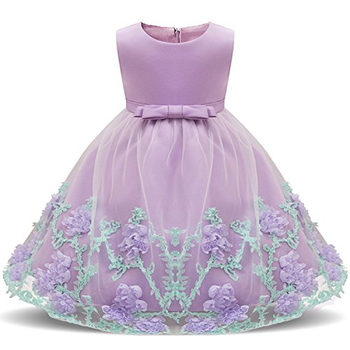 Dhiuow Pageant Flower Girl Baby Dresses Wedding Birthday Party Dress for Toddler Purple Size 12-24M by Dhiuow