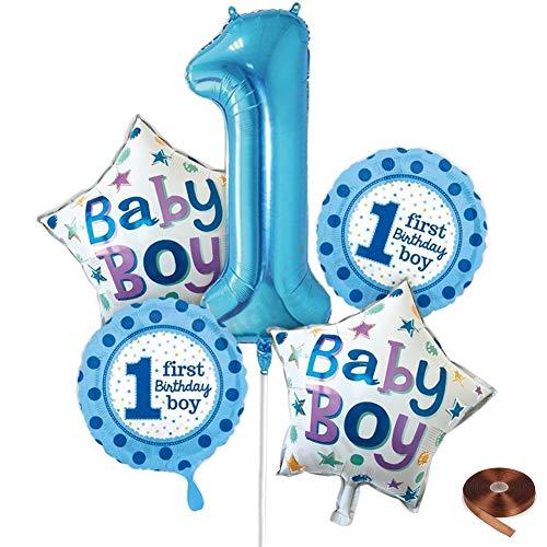 Tellpet Foil Balloon 1 Birthday Party Decorations Blue Baby Boy Balloons, 5 PCS, Blue Set -