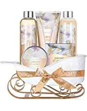 Bath and Body Set - Body & Earth Women Gifts, Christmas Spa Set with Jasmine & Honey Scent, Includes Bubble Bath, Shower Gel, Body Lotion and Hand Cream. Gift Basket for Women