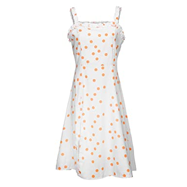 60846f343e3 Salaks Women Casual Dress Fashion Sleeveless Dot Print Summer Picnic Beach  Party Dresses White