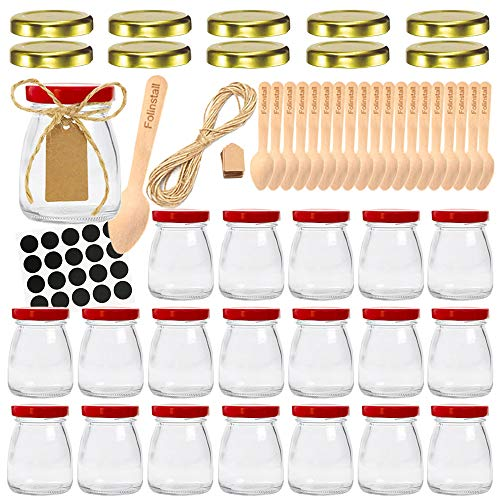 - Folinstall 20 Pcs 4 oz Glass Jars with Red lids, Small Mason Jars - Spice Jars for Kitchen. Extra 10 Gold Lids, Tag Strings, Chalkboard Labels and 20 Disposable Wooden Spoons Included