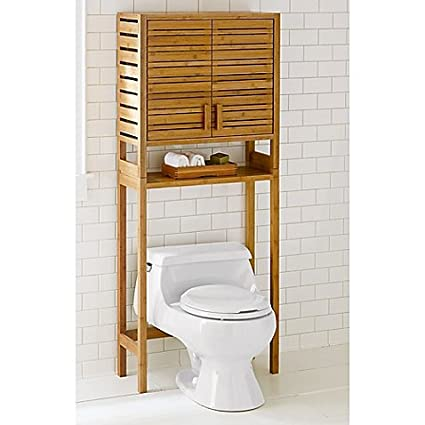 Two Door Open Shelf Bamboo Cabinet Bathroom Space Saver In Warm Natural  Finish