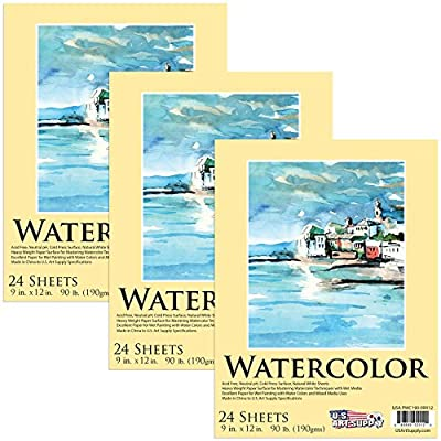 """U.S. Art Supply 9"""" x 12"""" Premium Extra Heavy-Weight Watercolor Painting Paper Pad, 90 Pound (190gsm), Pad of 24-Sheets (3-Pads)"""