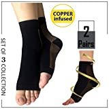 Highcamp 2PK Copper Compression Ankle Sleeve/Foot Sleeve/Ankle Brace/Wrap/Socks/Stabilizer Support Plantar Fasciitis, Stiff/Sore/Pain Muscle & Joints - GUARANTEED Relief & Recovery - L/XL